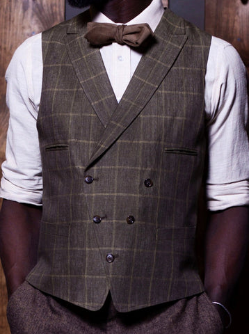 Bykowski Tailor & Garb Vest Windowpane tailored waistcoat tailored fit slim fit Made in USA Linen heritage clothing Handcrafted Gatsby Edwardian double breasted waistcoat Dapper Check Barbershop 1930's 1920's 1910's