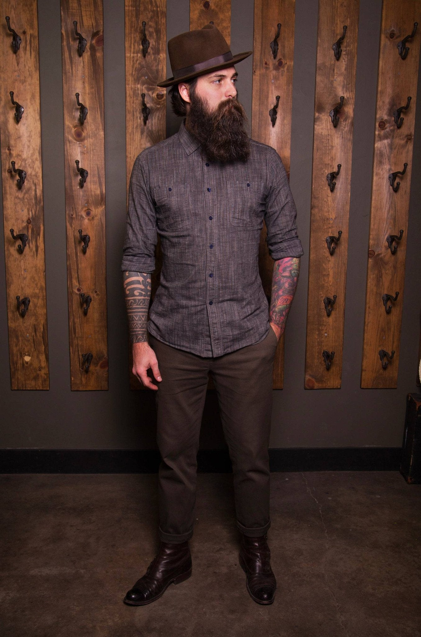 Earl Grey Work shirt-Bykowski Tailor & Garb tailored fit vintage inspired Railroad prohibition Made in USA Handcrafted heritage clothing Edwardian Denim Casual 1930's 1920's 1910's