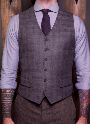 Bykowski Tailor & Garb vintage inspired Wool Vest tailored waistcoat slim fit tailored fit Rustic prohibition Made in USA heritage clothing Gatsby Dapper Check Barbershop 6 button 1930's 1920's 1910's