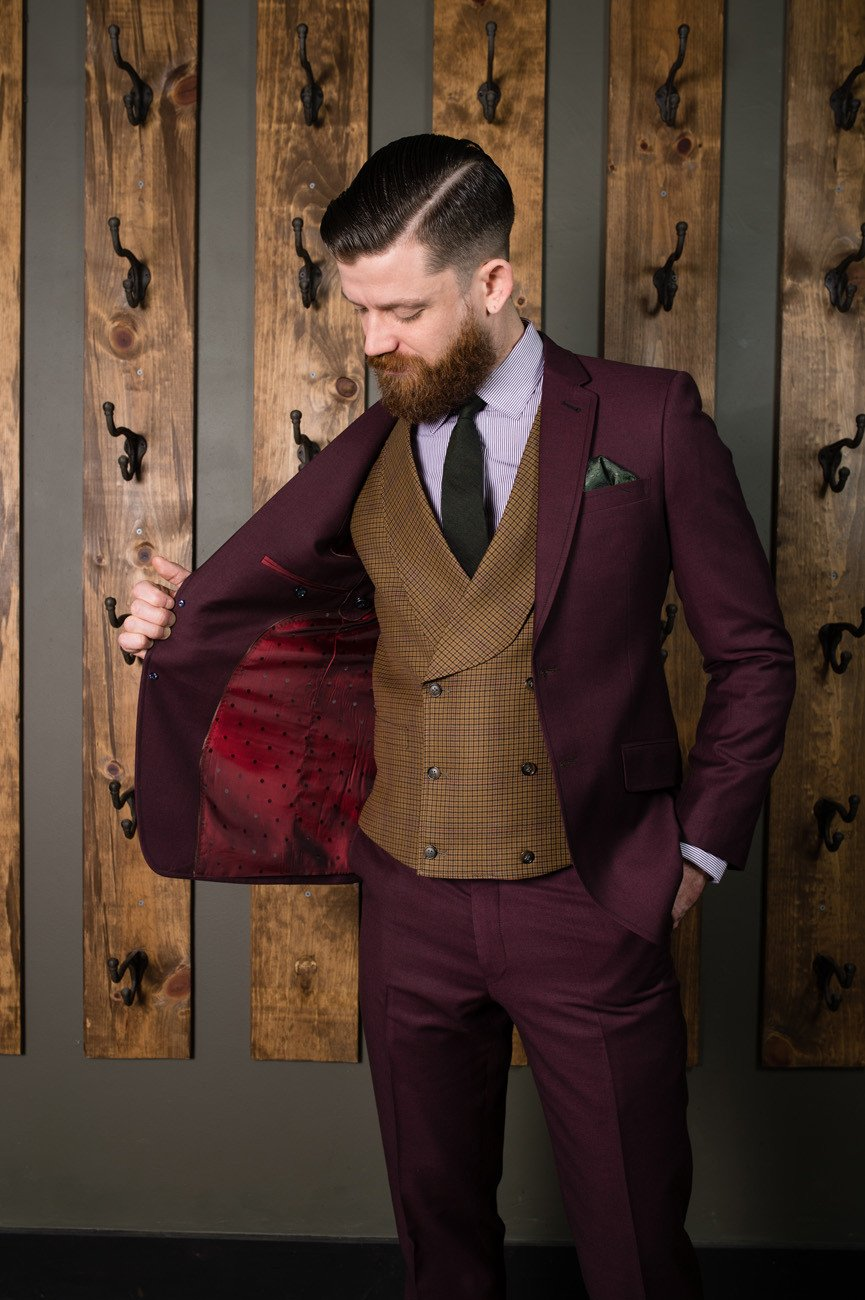 Formal Suit-Bykowski Tailor & Garb Burgundy Wool Classic