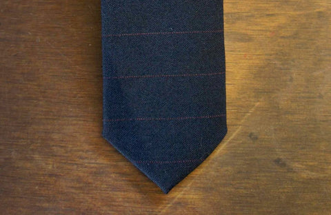 Navy Red Stripe Wool Necktie
