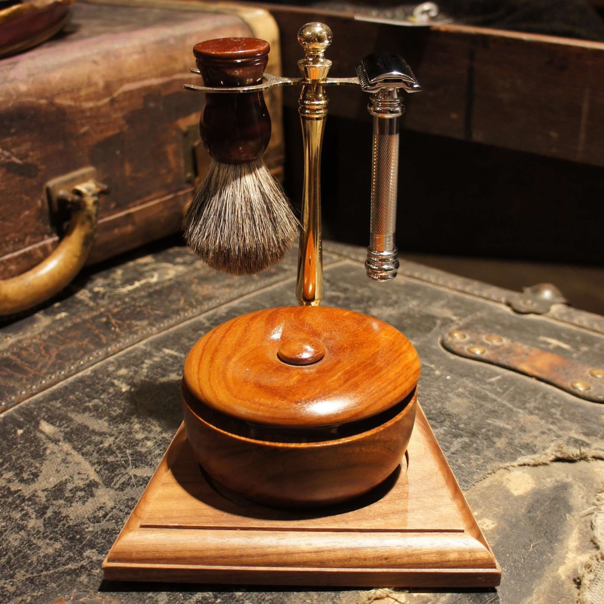 Gold tone and Wood shave stand - Bykowski Tailor & Garb