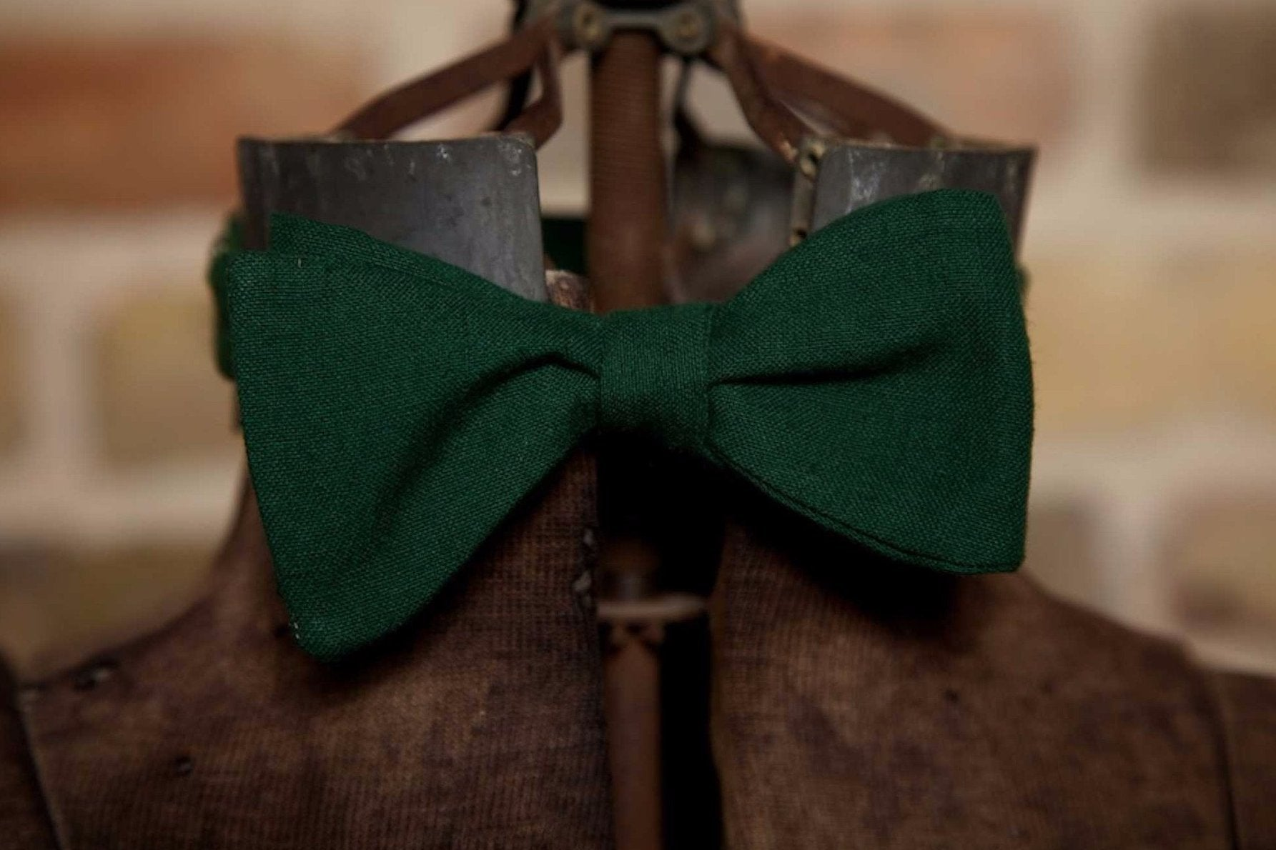 Green Cotton - Edwardian 1920's 1930's dandy cotton bowtie BYBT-HL05 1 - Bykowski Tailor & Garb