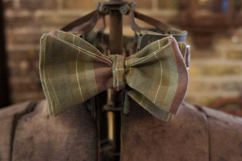 Green MultiStripe - Edwardian 1920's 1930's dandy cotton bowtie BYBT-76150135 1 - Bykowski Tailor & Garb