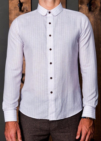Linen Stripe Club Collar Shirt