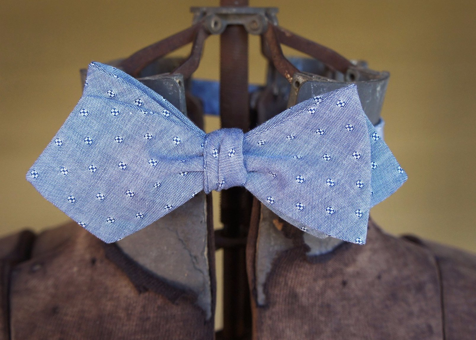 Light Blue Embroidered Shapes Bowtie