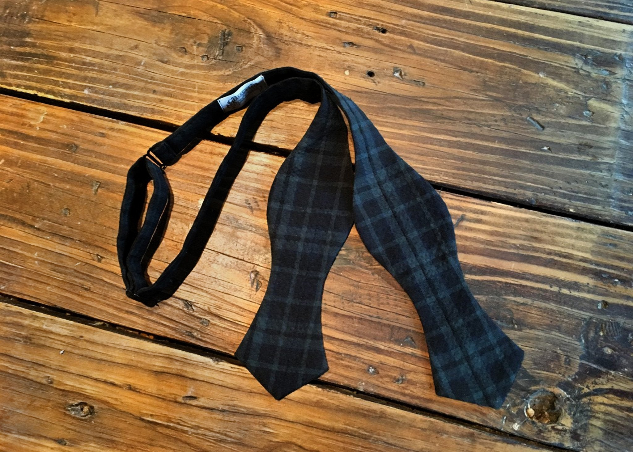Navy Green Black Check Bowtie