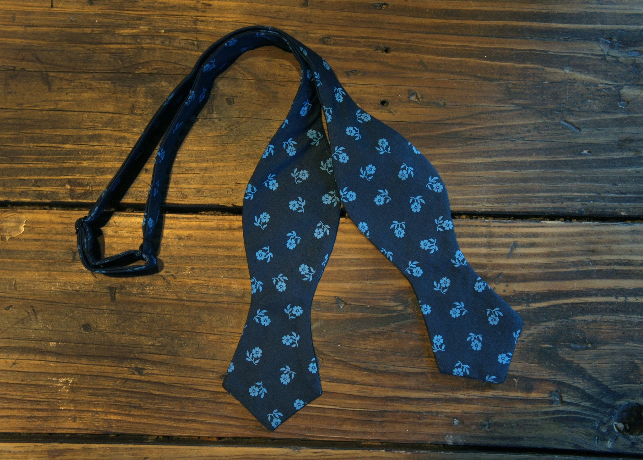 Navy Light Blue Flowers Bowtie