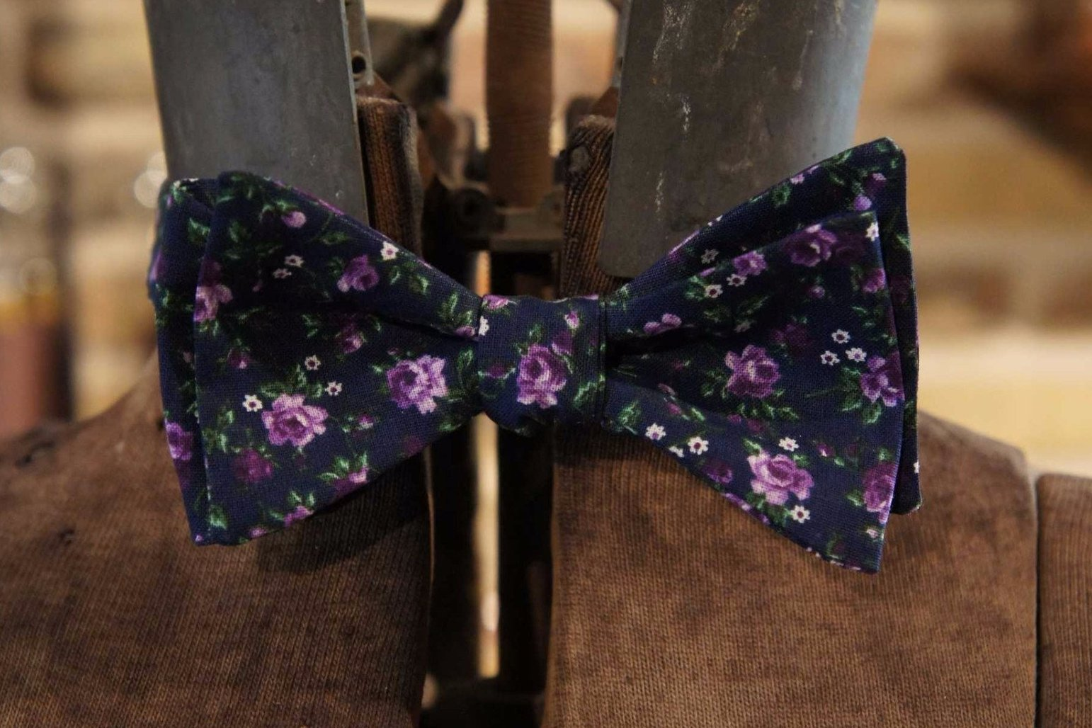 Navy Purple Floral - Edwardian 1920's 1930's dandy cotton bowtie BYBT-vin12 1 - Bykowski Tailor & Garb