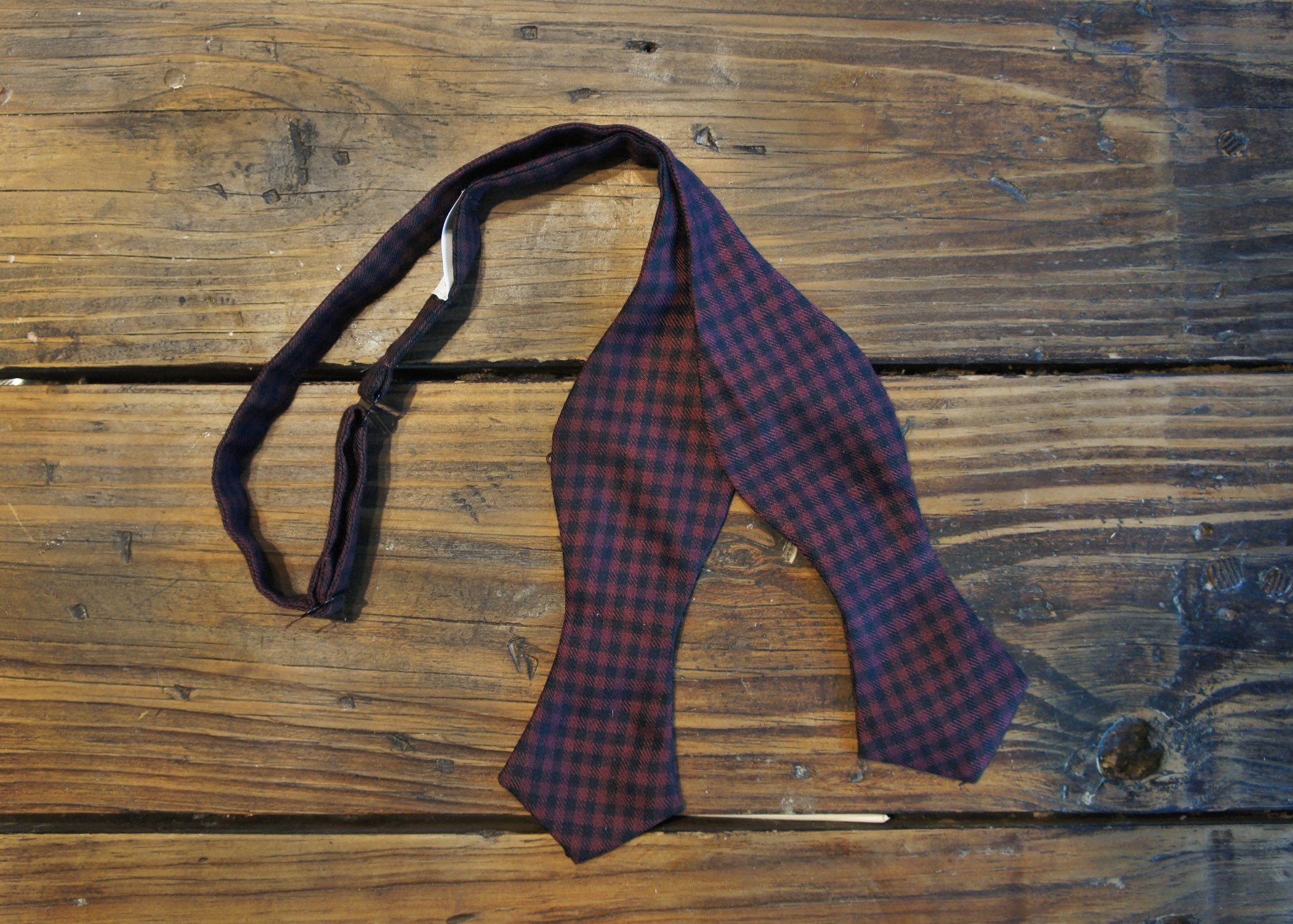 Navy Violet Mini-Check Bowtie