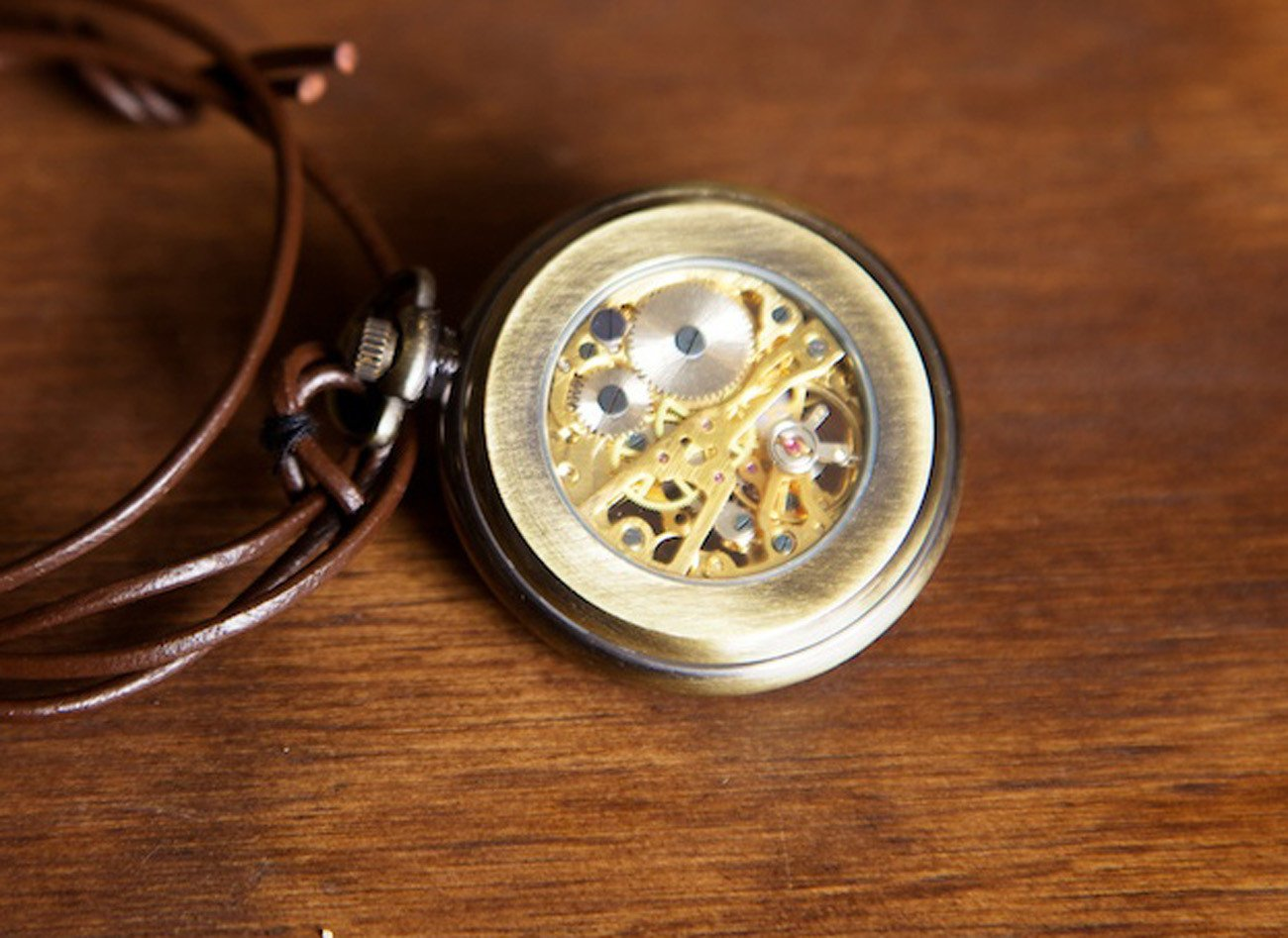 Brushed Brass Open Face Skeleton Watch