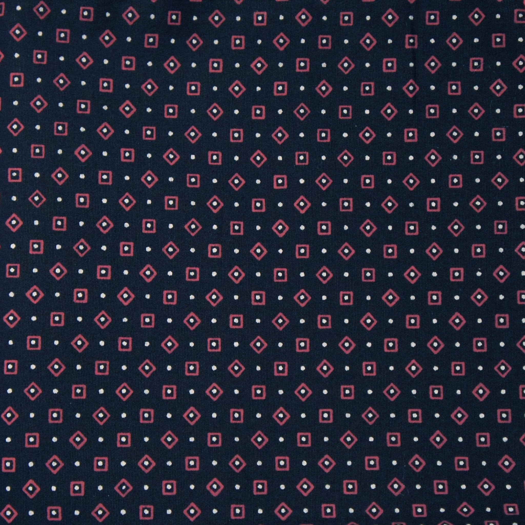 Reversible Navy with Pink Diamonds Pocket Square