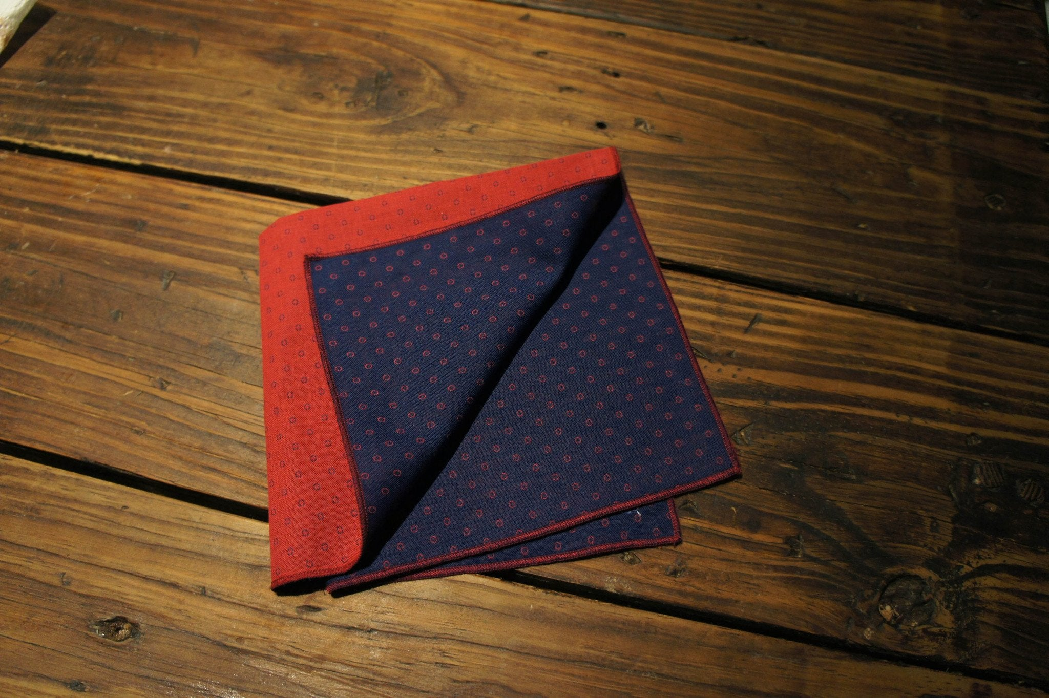Reversible Navy Dots Pocket Square