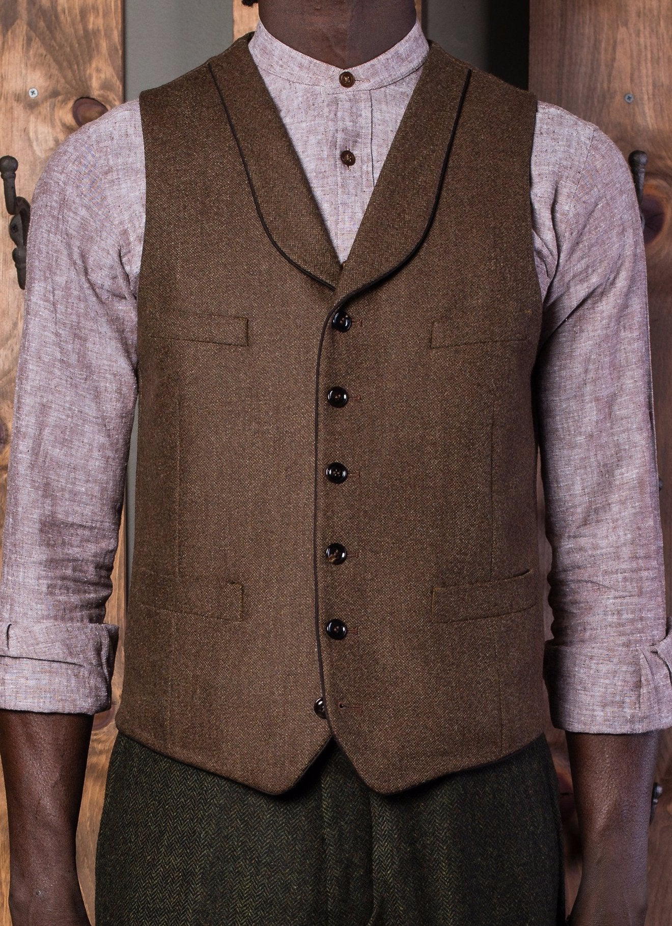 Bykowski Tailor & Garb waistcoat tailored fit slim fit peaky blinders Made in USA shawl lapel vest Handcrafted Gatsby Edwardian Dapper brown Barbershop 6 button 1920's 1910's prohibition  1800's
