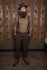 Bykowski Tailor & Garb -Wool vintage inspired tweed tailored fit suspenders slim fit Railroad prohibition peaky blinders Made in USA heritage clothing Handcrafted Gatsby English Tweed Dapper Casual Barbershop 1930's 1920's 1910's