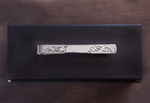Victorian Scrollwork Engraved Silver Tie Bar