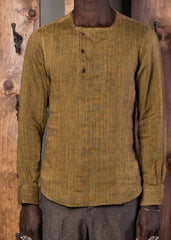 Slant Placket Shirt - Gold Linen