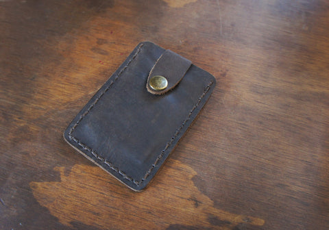 Leather snap wallet- Bykowski Tailor & Garb- minimalist Wallet Rustic Made in USA Leather Handcrafted Gift