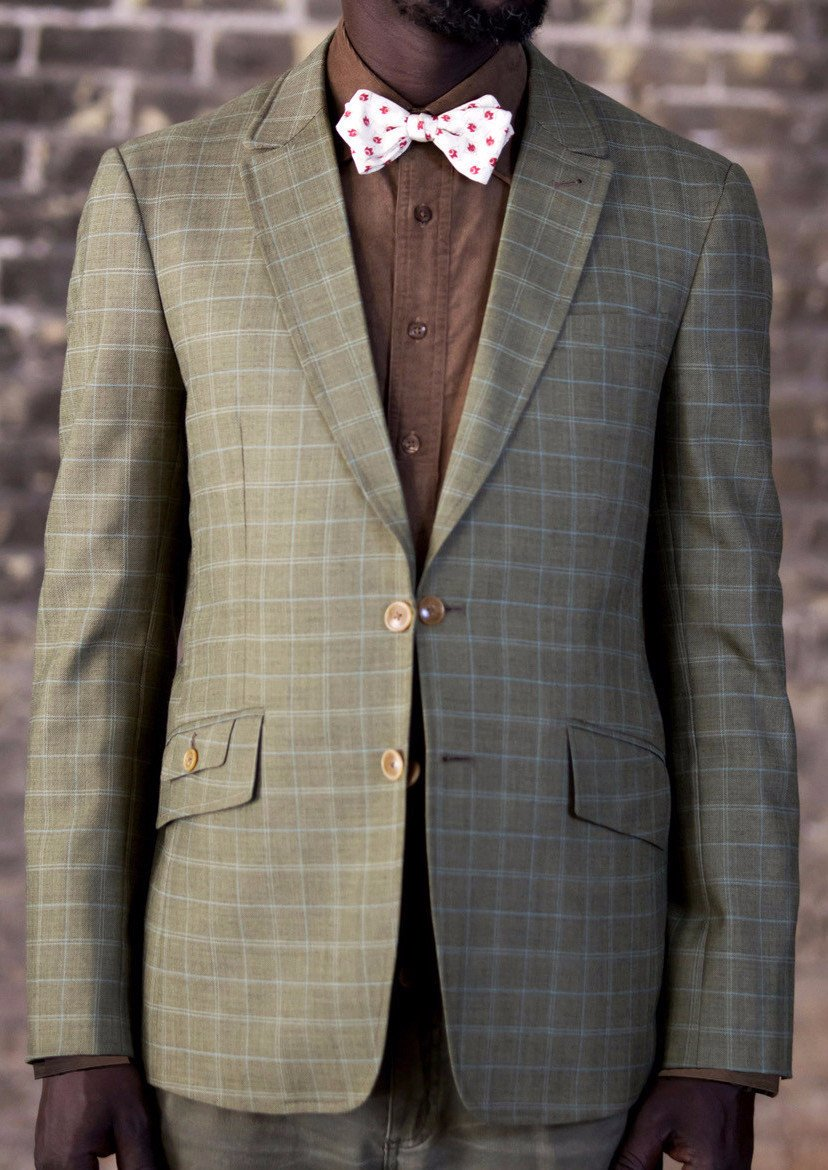 Town coat-Bykowski Tailor & Garb check pattern Cotton slim fit Wool vintage inspired tailored fit Rustic Made in USA Handcrafted Classic Dapper 1930's 1920's