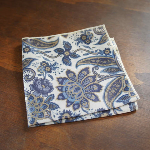 Blue and Cream Paisley Pocket Square