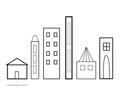 buildings colouring page