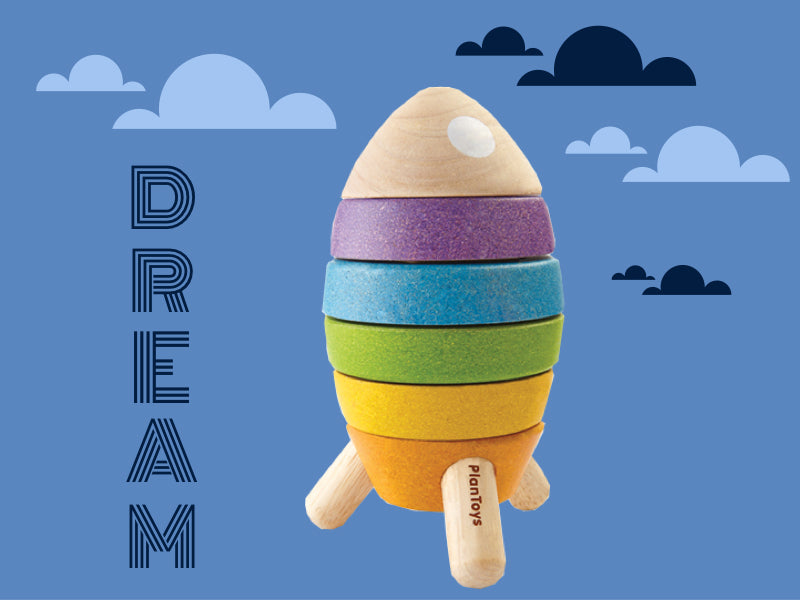 Dream with Plantoys stacking rocket at Toy Store and More