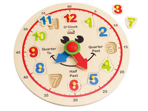 hape clock face puzzle with movable numbers and hands