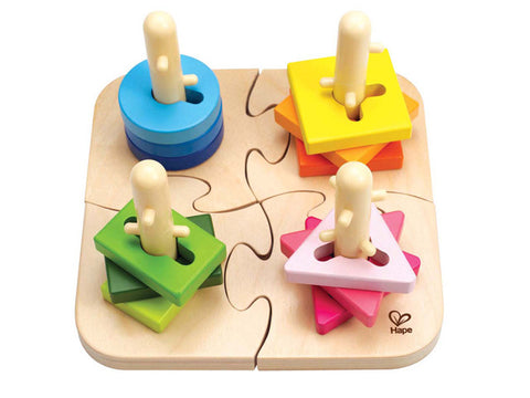 wooden creative peg puzzle for young children