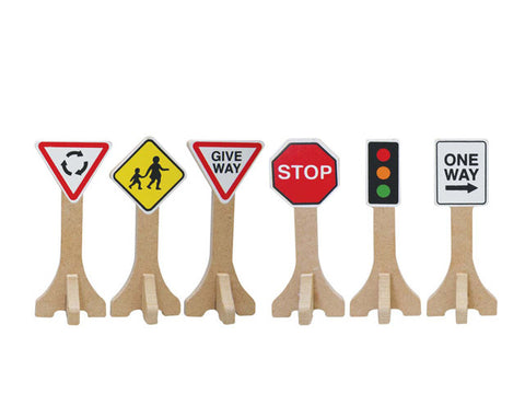 mini wooden street and traffic signs