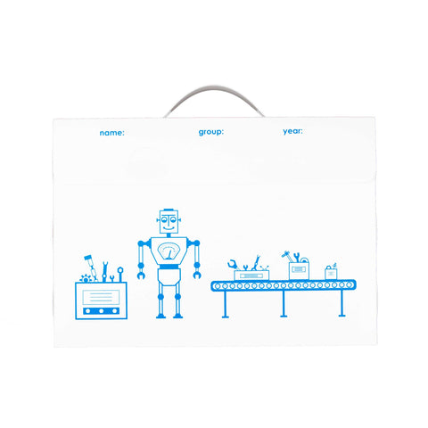 A3 size Art Portfolio with Robot Factory design on Front