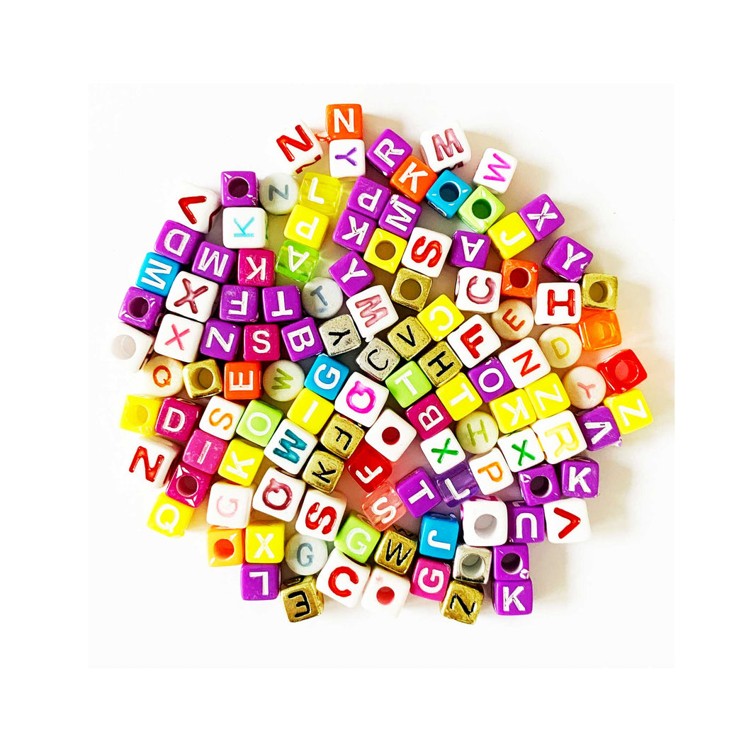 alphabet beads in mixed colours with upper case letters