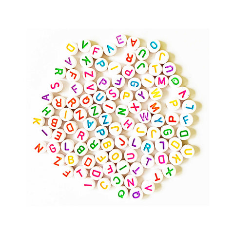 Round White Alphabet Beads for Crafting and Jewellery