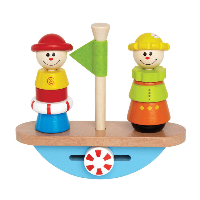 hape wooden multi coloured balance boat game