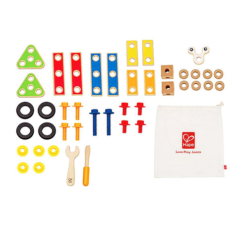 hape basic builders set with 42 pieces of blocks, screws, washers and tools
