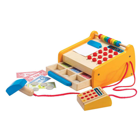wooden toy cash register with play money and credit cards