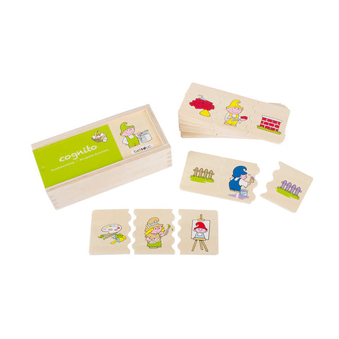 beleduc 30 piece wooden cognito recognise activities matching game in storage box
