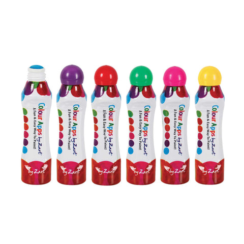 set of 6 colour apps dot markers in colours blue, purple, red, green, yellow and pink