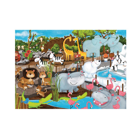 35 piece puzzle scene of animal at the zoo