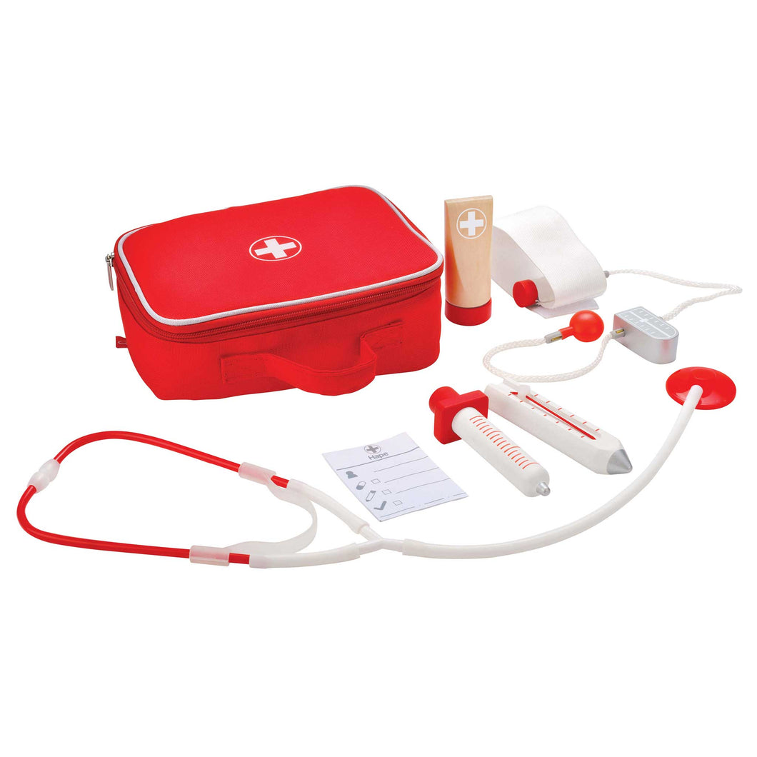 Hape doctor on call set with wooden instruments and red carry bag