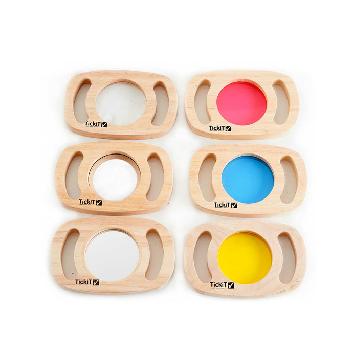 set of six wooden easy hold discovery pieces with coloured lenses