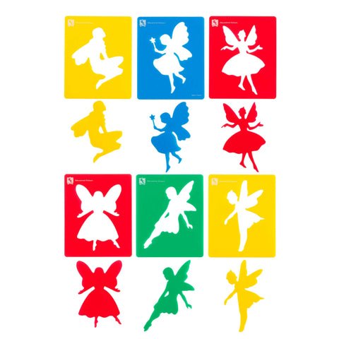 set of 6 different coloured fairy stencils showing positive and negative images