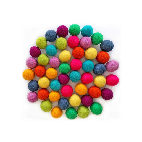 50 handmade natural felt balls in 10 assorted bright colours