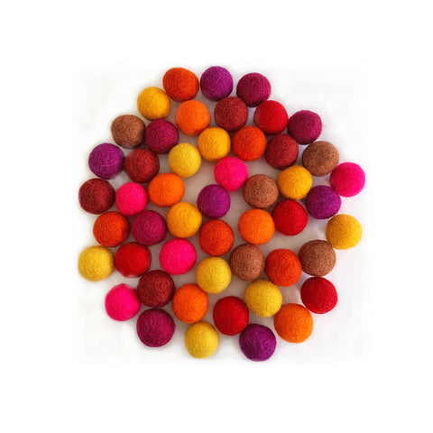 50 handmade natural felt balls in 10 assorted warm colours
