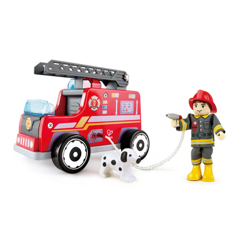 Hape wooden fire truck with fireman and spotted dog
