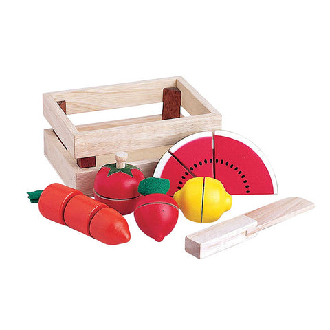 wooden toy fruit and vegetables set of 14 pieces in a small wooden crate