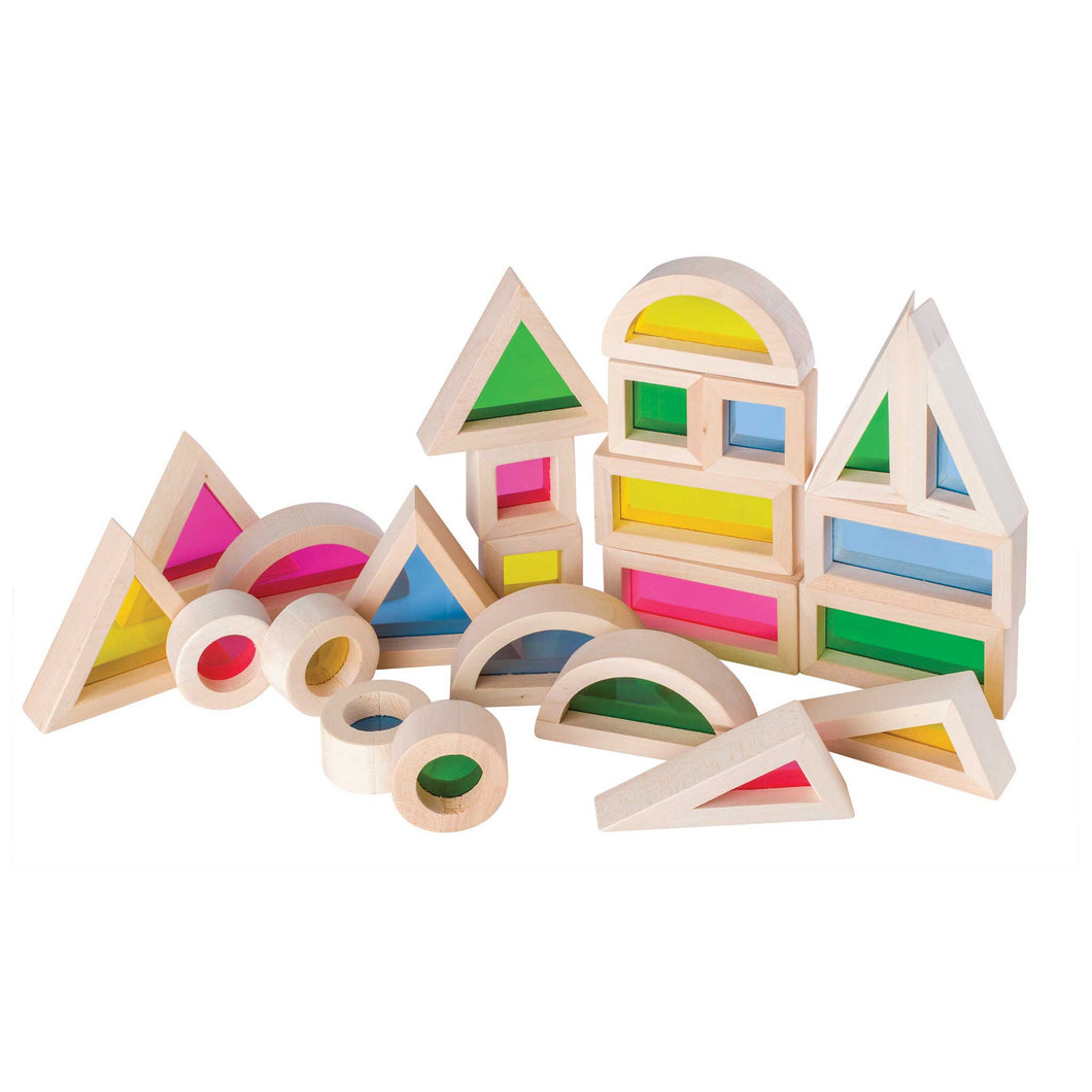 set of discovery wooden blocks in different shapes with coloured lens inserts