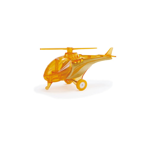 hape toy bamboo and orange plastic helicopter