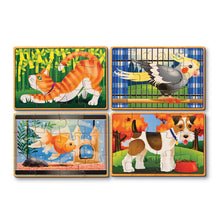 Load image into Gallery viewer, Melissa & Doug set of four wooden Pet Puzzles - cat, bird, fish and dog