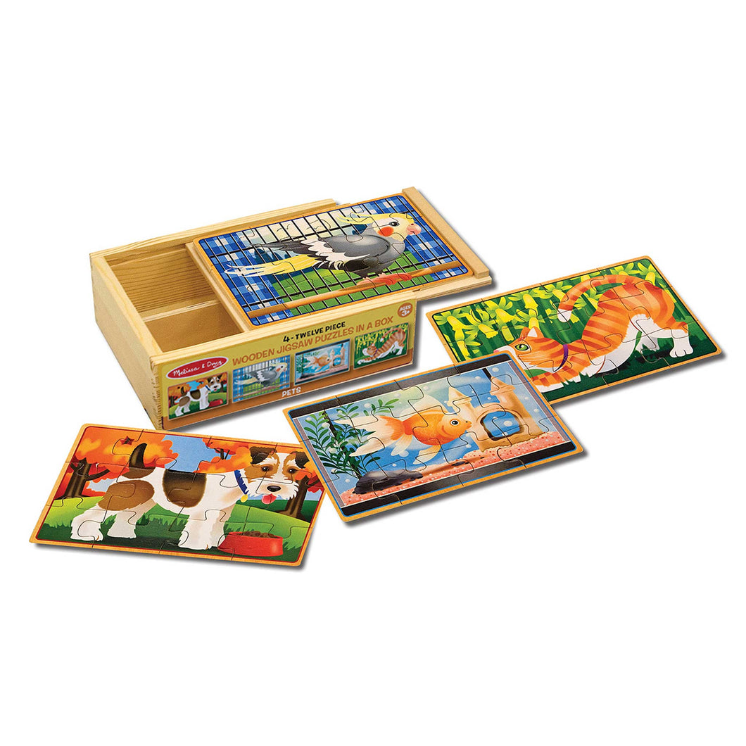 Melissa & Doug set of 4 Pet Puzzles in a wooden box