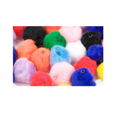 coloured pom poms with threading hole